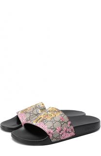 Резиновые шлепанцы Pursuit с принтом Gucci