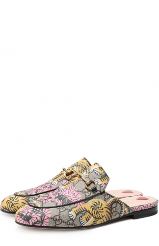 Сабо Princetown из текстиля с принтом Gucci