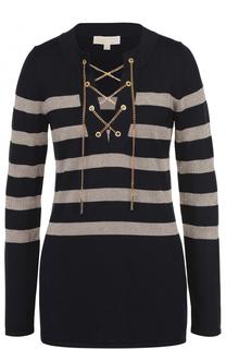 Удлиненный пуловер в контрастную полоску с декоративной отделкой MICHAEL Michael Kors