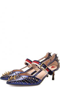 Кожаные туфли Unia с шипами на декорированном каблуке Gucci