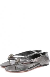 Сандалии из металлизированной кожи с декором Alexander McQueen
