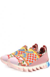 Комбинированные кроссовки Ibiza с принтом на рельефной подошве Dolce & Gabbana