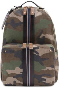 Текстильный рюкзак с камуфляжным принтом и отделкой из натуральной кожи Valentino
