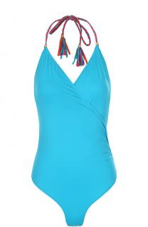 Слитный купальник с декоративной контрастной шнуровкой Lazul
