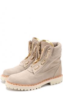 Замшевые ботинки с декором Balmain