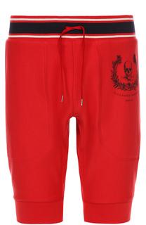 Хлопковые шорты с принтом и контрастной отделкой Alexander McQueen