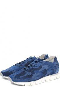 Замшевые кроссовки с камуфляжным принтом Santoni