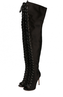 Ботфорты Marie из текстиля на шнуровке Gianvito Rossi