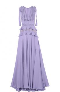 Шелковое платье-макси с подолом и кружевной отделкой Elie Saab