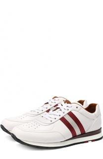 Кожаные кроссовки с контрастными вставками Bally