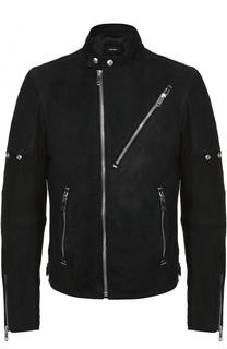 Кожаная куртка с косой молнией и воротником-стойкой Diesel