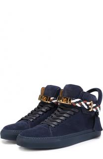 Высокие замшевые кеды на шнуровке с декоративной отделкой Buscemi