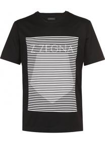 Хлопковая футболка с контрастным принтом Z Zegna
