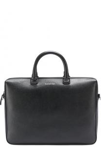 Кожаная сумка для ноутбука с внешним карманом Ermenegildo Zegna