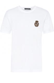 Хлопковая футболка с вышивкой канителью Dolce & Gabbana