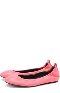 Кожаные балетки с круглым мысом Lanvin