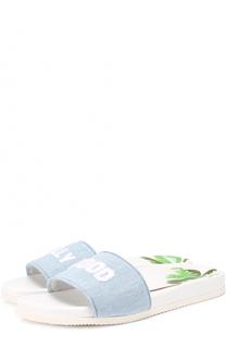 Текстильные шлепанцы с контрастной вышивкой Joshua Sanders