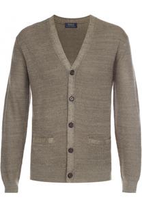 Кардиган из смеси льна и шелка с V-образным вырезом Polo Ralph Lauren
