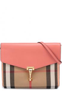 Кожаная сумка Macken с отделкой из клетчатого текстиля Burberry