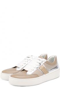 Комбинированные кроссовки на шнуровке Sergio Rossi
