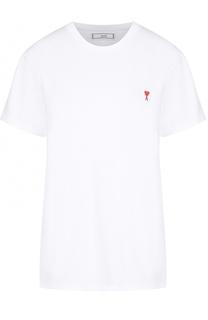 Хлопковая футболка прямого кроя с контрастной вышивкой Ami