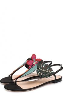 Кожаные сандалии Tropical Dream с аппликацией Valentino