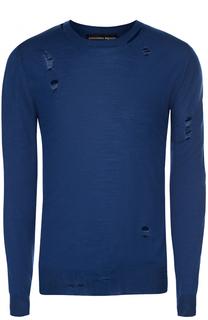 Джемпер тонкой вязки из смеси шерсти и шелка с декоративными потертостями Alexander McQueen