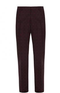 Шерстяные брюки прямого кроя с принтом Alexander McQueen
