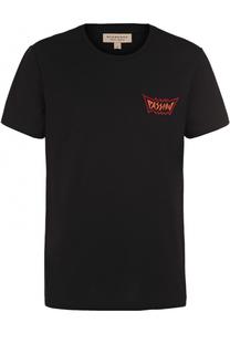Хлопковая футболка с круглым вырезом и контрастной аппликацией Burberry