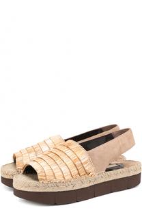 Комбинированные сандалии из рафии и замши Paloma Barcelo