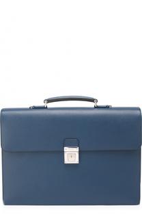 Кожаный портфель с внешним карманом на молнии и плечевым ремнем Serapian