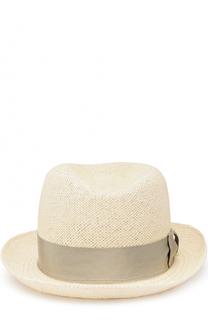 Соломенная шляпа-федора с лентой Giorgio Armani