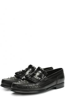 Кожаные мокасины с бахромой и брогированием Dolce & Gabbana