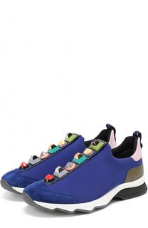 Комбинированные кроссовки с декором Fendi