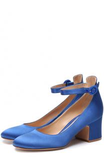 Атласные туфли с ремешком на щиколотке Gianvito Rossi