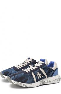 Комбинированные кроссовки с камуфляжным принтом Premiata