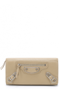 Кожаный бумажник Classic Metallic Edge на молнии Balenciaga