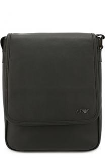 Кожаная сумка-планшет с внешним карманом Armani Jeans