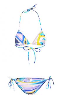 Раздельный купальник с треугольным бра и ярким принтом Emilio Pucci