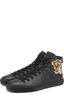 Высокие кожаные кеды на шнуровке с контрастной вышивкой Gucci