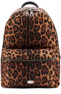 Текстильный рюкзак с анималистичным принтом Dolce & Gabbana