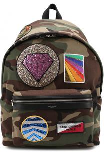 Текстильный рюкзак с камуфляжным принтом и нашивками Saint Laurent