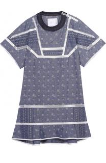 Мини-платье свободного кроя с контрастной отделкой Sacai