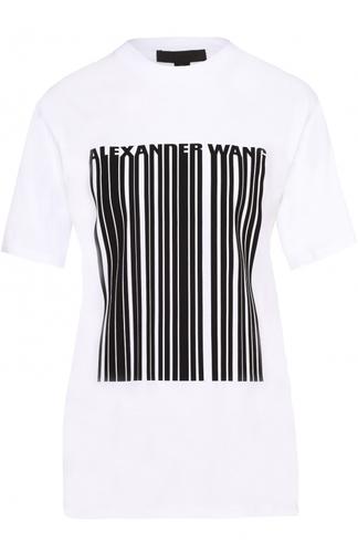 Хлопковая футболка прямого кроя с контрастным принтом Alexander Wang