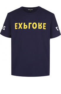 Хлопковая футболка с контрастным принтом Markus Lupfer