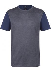 Хлопковая футболка с шелковой отделкой BOSS