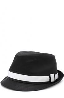 Хлопковая шляпа-федора с контрастной лентой Dolce & Gabbana