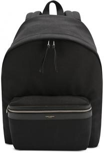 Текстильный рюкзак с внешним карманом на молнии Saint Laurent
