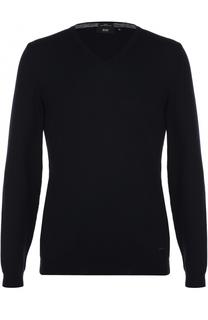 Хлопковый пуловер тонкой вязки BOSS