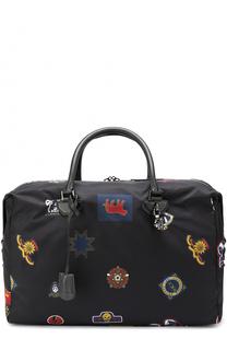 Текстильная дорожная сумка с контрастной отделкой и плечевым ремнем Alexander McQueen